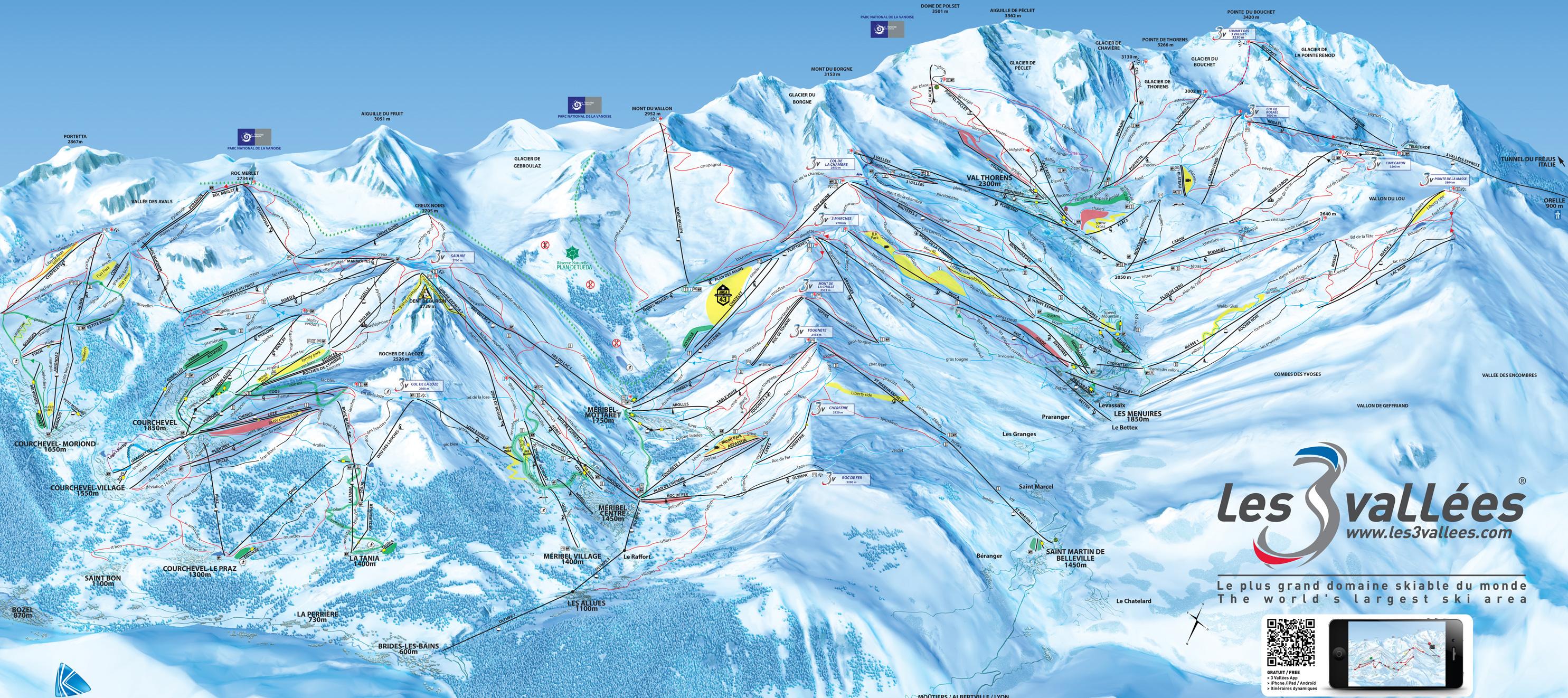 Trois vallees piste map