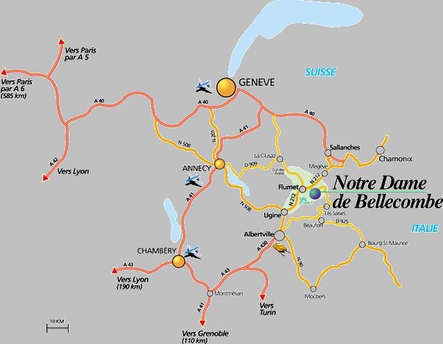 Anreiseplan Notre Dame de Bellecombe