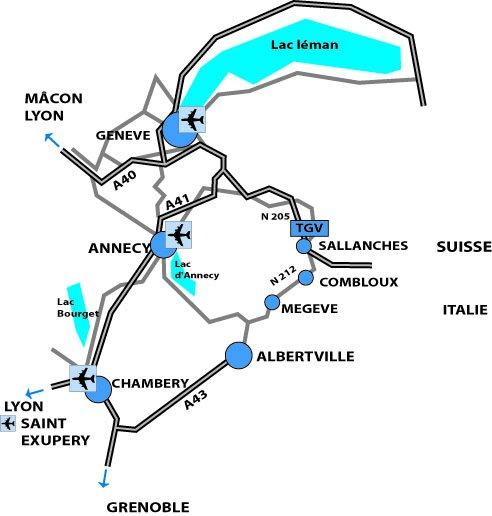 Mapa dojazdu Megève