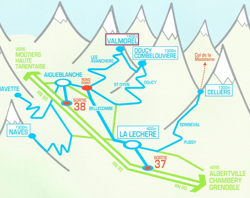 Príjazdová mapa Valmorel