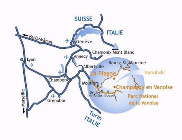 Mapa dojazdu Aime La Plagne