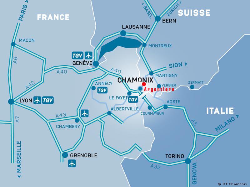 Atvykimo žemėlapis Argentière