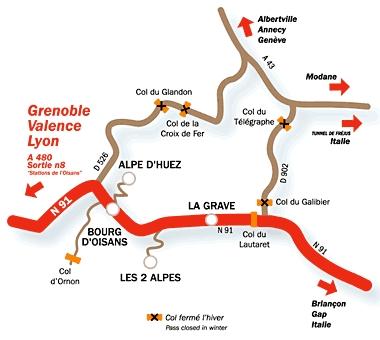 érkezési terv Deux Alpes