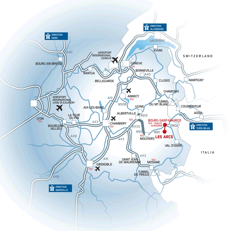 Access plan Les Arcs 1800