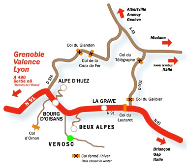 Plano de acceso a  Deux Alpes/Venosc