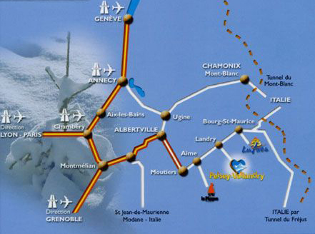 Mapa dojazdu Peisey-Vallandry