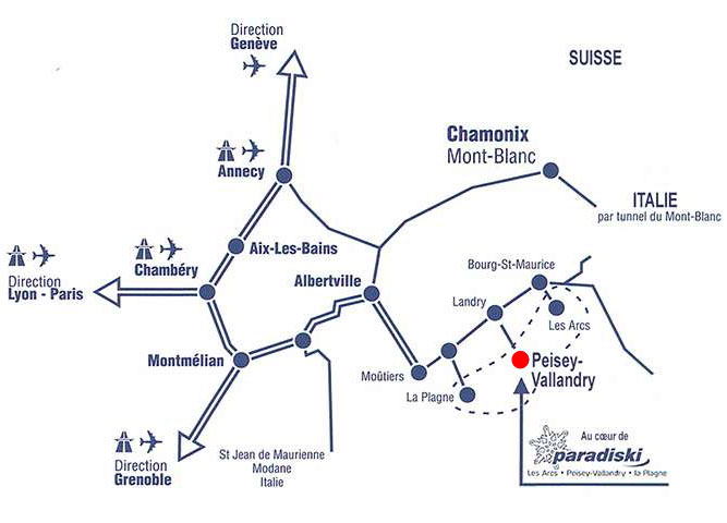 Geliş planı Peisey-Vallandry