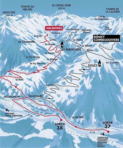Príjazdová mapa Doucy-Combelouvière