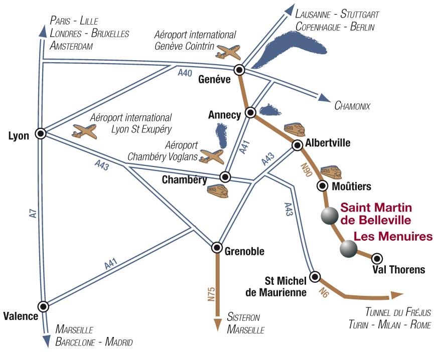 Príjazdová mapa Les Menuires
