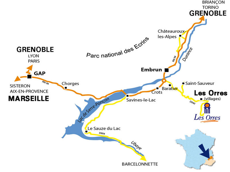 Mapa dojazdu Les Orres