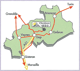 σχέδιο άφιξης Orcières 1850