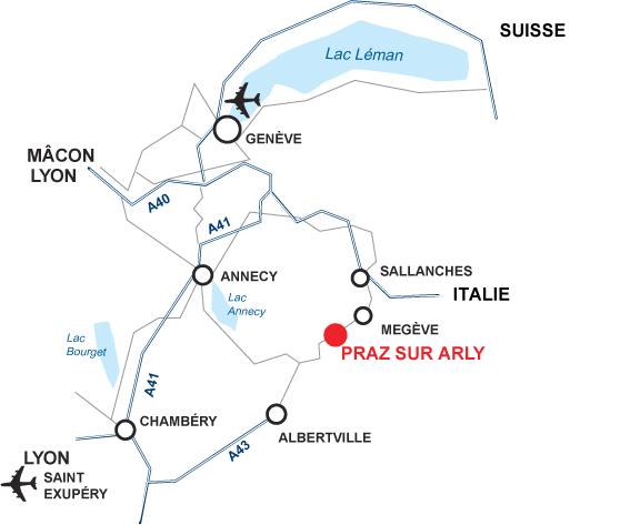 Atvykimo žemėlapis Praz sur Arly