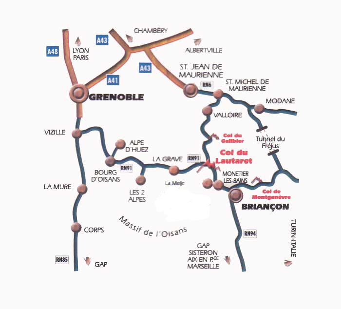 Mapa dojazdu Briançon
