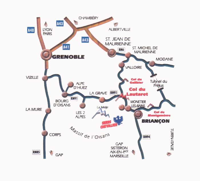 到达路线图 Monêtier les Bains