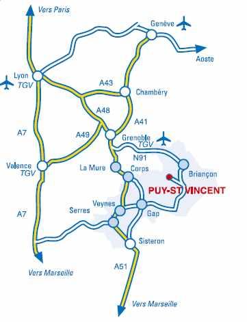 Plano de acceso a  Puy Saint Vincent