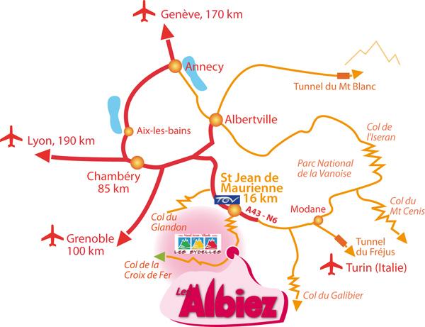 Príjazdová mapa Albiez-Montrond