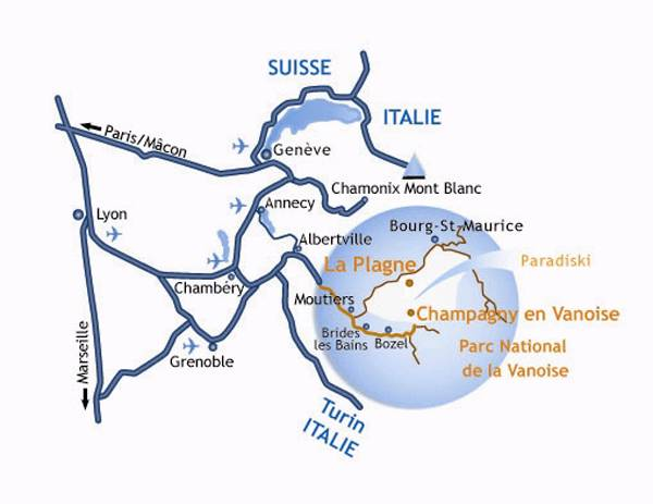 Anreiseplan Aime La Plagne