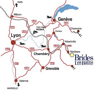 到达路线图 Brides les Bains