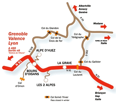 Plan d'accès Deux Alpes