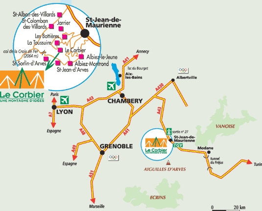 Anreiseplan Le Corbier