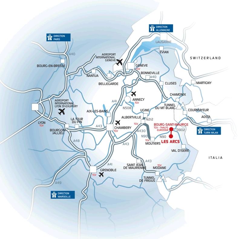 Príjazdová mapa Les Arcs 1800