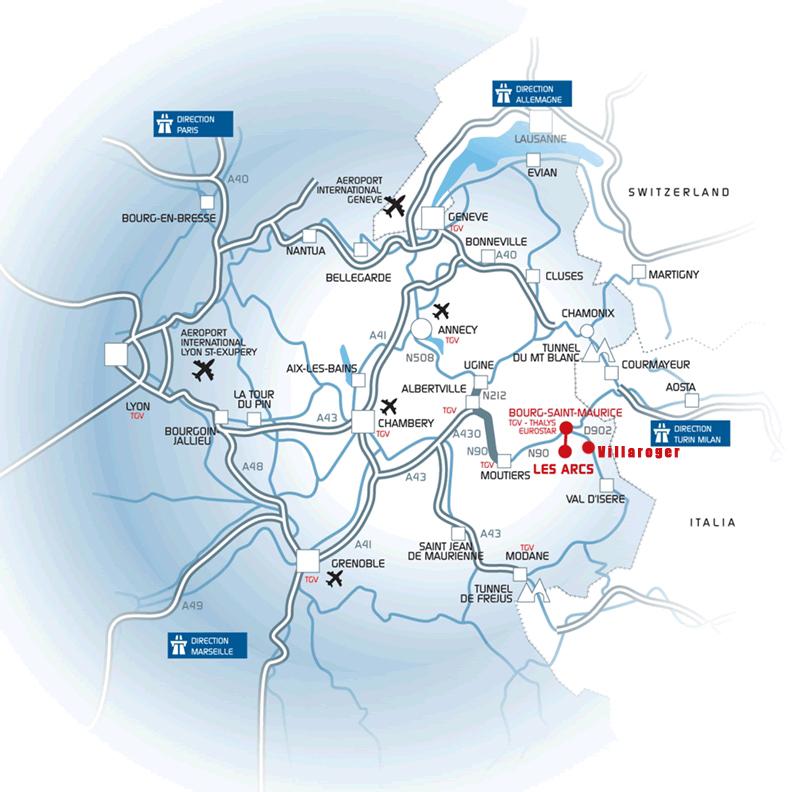到达路线图 Les Arcs/Villaroger