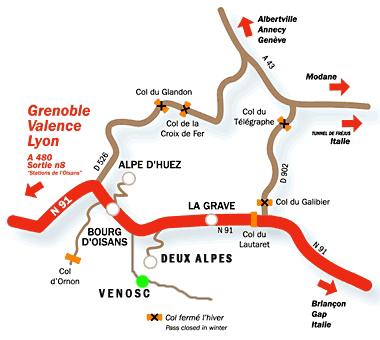 Aankomst plan Deux Alpes/Venosc