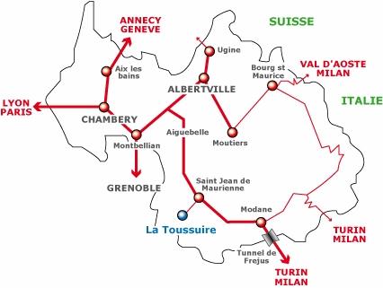σχέδιο άφιξης La Toussuire