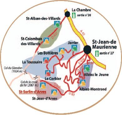 到达路线图 Saint Sorlin d'Arves