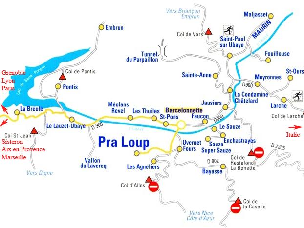 Plan d'accès Pra Loup